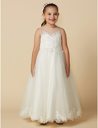 29c3b05a27 A-Line Ankle Length Flower Girl Dress - Lace / Tulle Sleeveless Jewel Neck  with Appliques by LAN TING BRIDE® / Engagement Party 6845743 2019 – $79.99