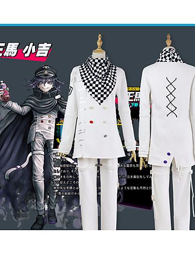 """billige Anime cosplay-Inspirert av Dangan Ronpa Ouma Kokichi Anime  """"Cosplay-kostymer"""" Cosplay Klær Enkel / Gitter Frakk / Bukser / Halstørklæ Til Herre"""