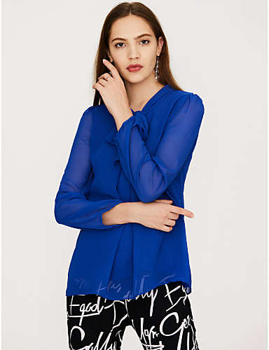 abordables Camisas y Camisetas para Mujer-Mujer Chic de Calle Noche Lazo Blusa Corte Ancho Un Color Fucsia XL / Primavera / Verano / Con Lazo