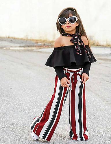 Djeca Djevojčice Ulični šik Prugasti uzorak Vezanje straga Dugih rukava Pamuk Komplet odjeće Crn