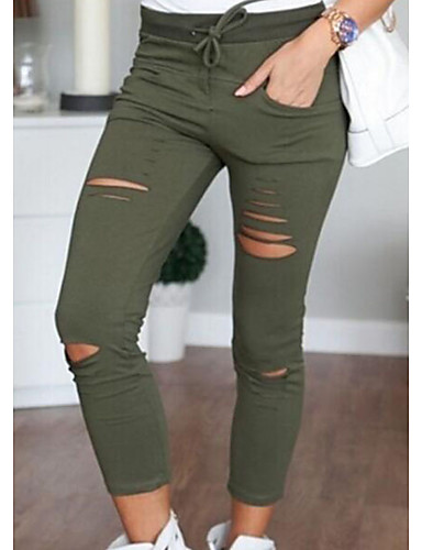 cheap Women's Pants-Women's Daily Skinny Chinos Pants - Solid Colored Cotton White Black Army Green L XL XXL