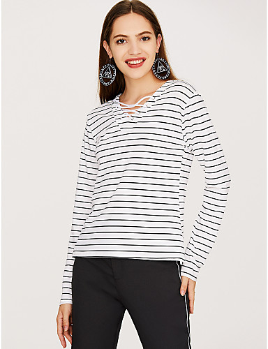 billige Topper til damer-T-skjorte Dame - Stripet, Kryss Aktiv / Gatemote Ut på byen Hvit / Vår / Høst / Snøring / fin Stripe