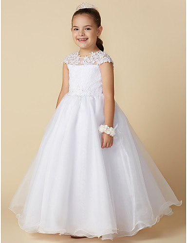 0cfbc95e60b Ball Gown Ankle Length Flower Girl Dress - Lace   Tulle Short Sleeve Jewel  Neck with Beading   Appliques by LAN TING BRIDE®