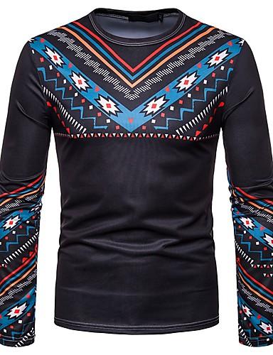 voordelige Heren T-shirts & tanktops-Heren Vintage / Boho Print T-shirt Katoen, Feest Tribal Zwart / Lange mouw