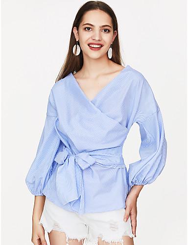 povoljno Majica-Majica Žene Dnevno Prugasti uzorak Puff rukav V izrez Širok kroj, Mašna Plava / Ljeto / Na vezanje