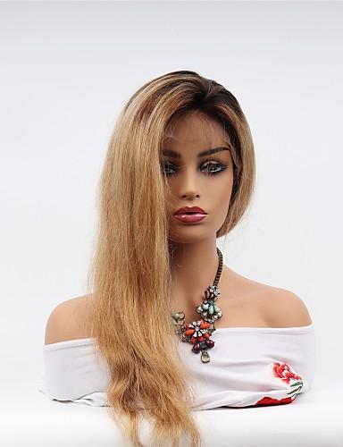 abordables Perruques Naturelles Dentelle-Perruque Cheveux Naturel Rémy Full Lace Cheveux Brésiliens Droit Coupe Asymétrique Femme Densité 130% avec des cheveux de bébé Homme Faciliter l'habillage Sexy Lady Naturel Très long Noir / Blond