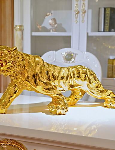 voordelige Kamer-1 stuk luxe goudkleurige tijgergeschenk voor mannen, woondecoratie, decoratie voor auto 16cm / 18cm