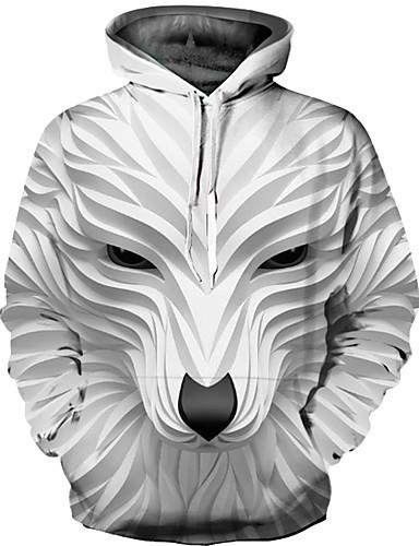 voordelige Uitverkoop-Heren Punk & Gothic / overdreven Grote maten Broek - 3D Print Wit / Ronde hals / Lange mouw / Herfst