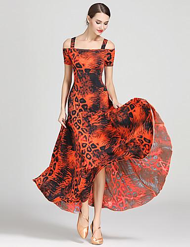 cheap Ballroom Dancewear-Ballroom Dance Dresses Women's Training / Performance Ice Silk Draping / Pattern / Print Short Sleeve High Dress