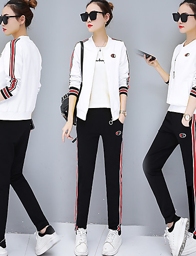 b33240ded0a Women s Pocket Tracksuit Black Yellow Red Sports Stripes Cotton Jacket Tee    T-shirt Pants   Trousers Zumba Yoga Running Long Sleeve Plus Size  Activewear ...