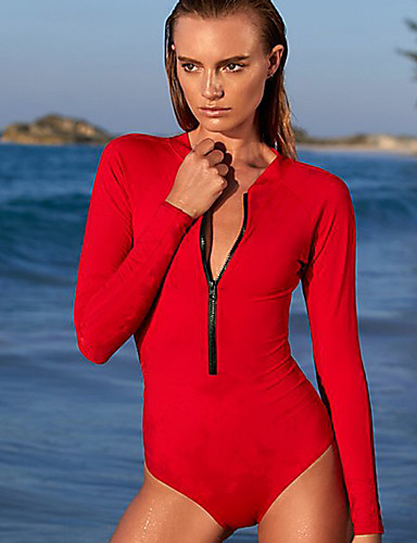 ac1bbfb135 Women's One Piece Swimsuit Bodysuit Anatomic Design High Elasticity Long  Sleeve Open Back Front Zip -