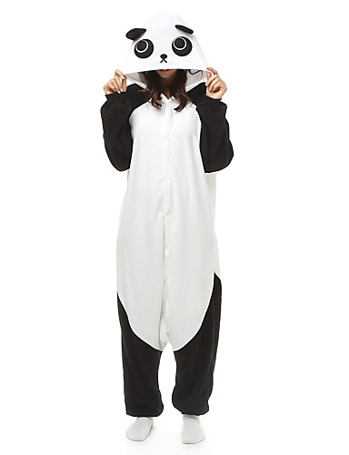 cheap Kigurumi Pajamas-Adults' Kigurumi Pajamas Panda Onesie Pajamas Polar Fleece Black / White Cosplay For Men and Women Animal Sleepwear Cartoon Festival / Holiday Costumes