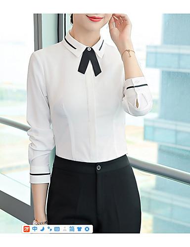 billige Dametopper-Skjortekrage Store størrelser Skjorte Dame - Ensfarget, Sløyfe / Lapper Grunnleggende Arbeid Beige