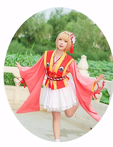 voordelige Cosplay & Kostuums-geinspireerd door Cardcaptor Sakura Kinomoto Sakura Anime Cosplaykostuums Cosplay Kostuums Sterren Taille Accessoire / Hoofddeksels / Kostuum Voor Dames