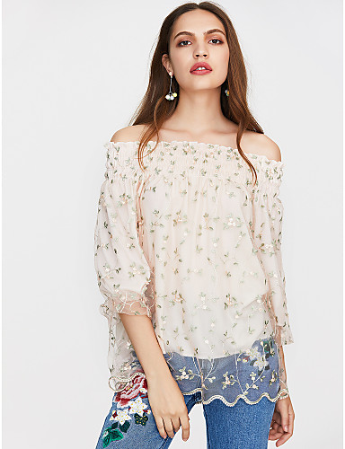 billige Topper til damer-Stroppeløs / Løse skuldre Bluse Dame - Blomstret Ut på byen Rosa