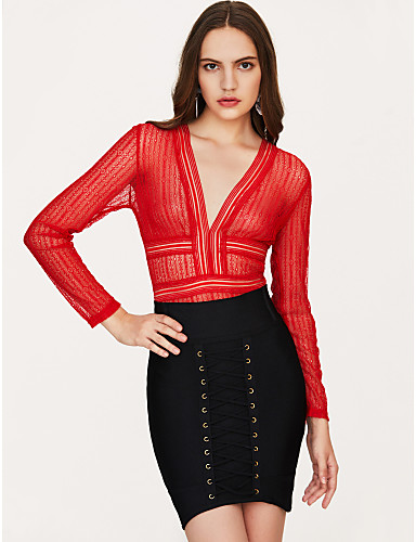 Χαμηλού Κόστους Γυναικείες Μπλούζες-Γυναικεία Εξώπλατο Κλαμπ Κομψό στυλ street Βαθύ V Μαύρο Κίτρινο Κόκκινο Κορμάκι, Συμπαγές Χρώμα Δαντέλα Τ M L Αμάνικο Καλοκαίρι