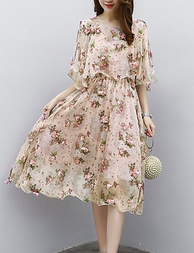 Women's Work Boho Shift Dress - Floral Print / Summer / Floral Patterns