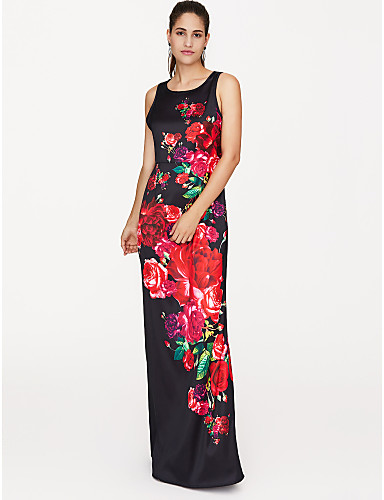 voordelige Maxi-jurken-Dames Feest Street chic Slank Wijd uitlopend Jurk - Bloemen Maxi