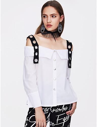 abordables Camisas y Camisetas para Mujer-Mujer Básico Noche / Discoteca Retazos Camisa, Con Tirantes / Escote Barco Bloques Blanco M / Primavera / Verano / Sexy