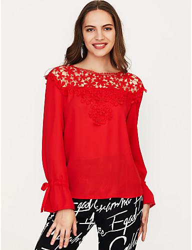 billige Topper til damer-Bomull Puffermer T-skjorte Dame - Ensfarget, Dusk Vintage Svart & Rød Hvit M