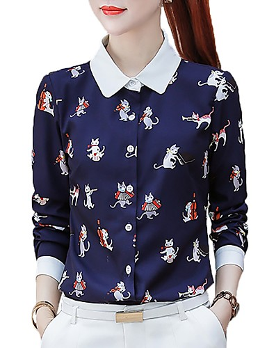 billige Topper til damer-Skjortekrage Store størrelser Skjorte Dame - Dyr Arbeid Katt Navyblå XL