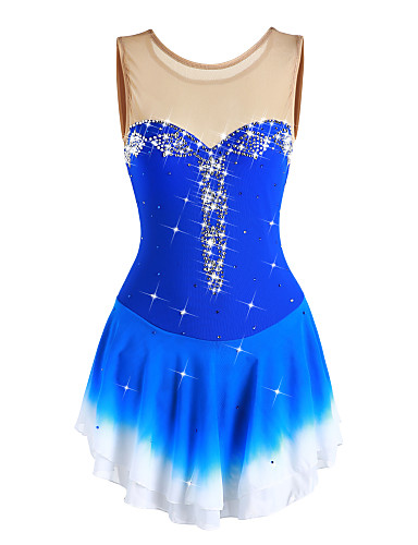 Figure Skating Dress Women's / Girls' Ice Skating Dress Aquamarine Halo Dyeing Spandex High Elasticity Competition Skating Wear Handmade Solid Colored Long Sleeve Ice Skating / Figure Skating