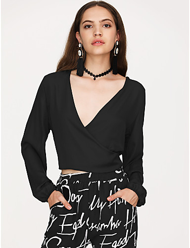 Χαμηλού Κόστους Γυναικείες Μπλούζες-Γυναικεία Πουκάμισο Κομψό στυλ street Συμπαγές Χρώμα Λαιμόκοψη V Λεπτό Μαύρο