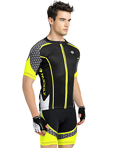 cheap Cycling Clothing-Nuckily Men's Short Sleeve Cycling Jersey with Shorts Yellow Geometic Bike Shorts Jersey Clothing Suit Breathable Ultraviolet Resistant Reflective Strips Back Pocket Sports Polyester Patchwork