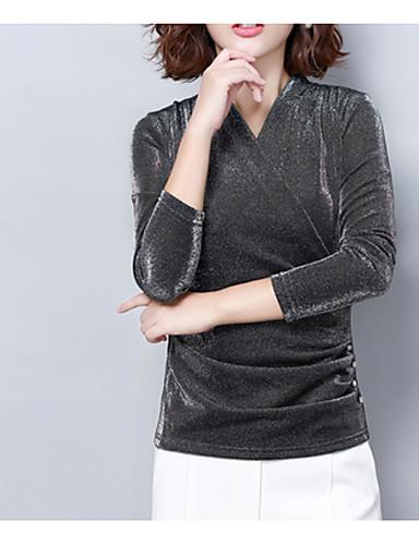저렴한 여성용 상의-여성용 솔리드 V 넥 티셔츠 면 블랙