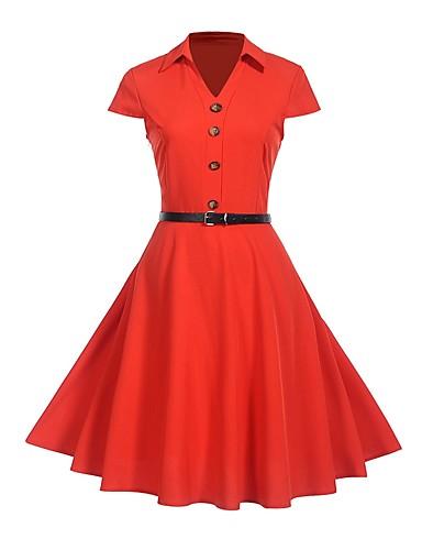 billige Kjoler-Dame Fest Vintage Tynn Swing Kjole - Ensfarget Skjortekrage Knelang