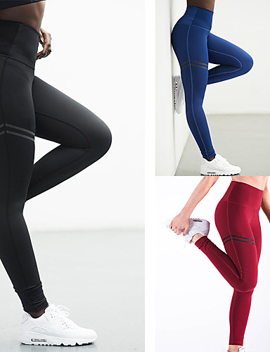 6210163ee32f2 Women's Butt Lift Yoga Pants Sports Stripes Cotton High Rise Pants /  Trousers Bottoms Zumba Exercise & Fitness Running Activewear Fast Dry Push  Up Tummy ...