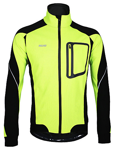 cheap Cycling Clothing-Arsuxeo Men's Cycling Jacket Bike Jacket Winter Fleece Jacket Top Thermal / Warm Windproof Fleece Lining Sports Polyester Spandex Fleece Winter Red / Blue / Light Green Mountain Bike MTB Road Bike