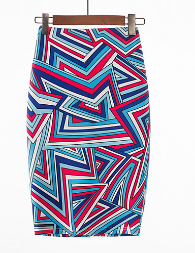 abordables Jupes-Femme Basique Quotidien Moulante Jupes - Géométrique Bloc de Couleur Taille haute Violet S M L