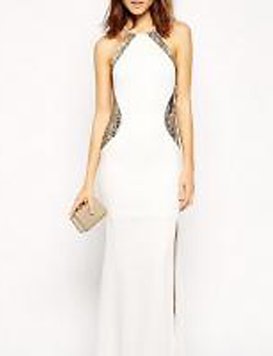 e87d4ead3abaf Women s Party Elegant Maxi Slim Dress - Solid Colored White