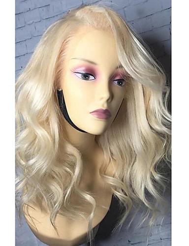 povoljno Perike s ljudskom kosom-Remy kosa Lace Front Perika Bob frizura Srednji dio Stražnji dio šašav stil Brazilska kosa Valovita kosa Plavuša Perika 130% Gustoća kose s dječjom kosom Prirodna linija za kosu Afro-američka perika