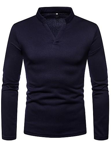 男性用 Tシャツ ベーシック Vネック ソリッド ダックグレー L / 長袖