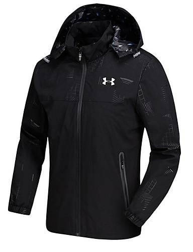 cheap Outerwear-Men's Daily Street chic Regular Jacket, Contemporary Hooded Long Sleeve Polyester Black / Navy Blue XXXL / 4XL / XXXXXL