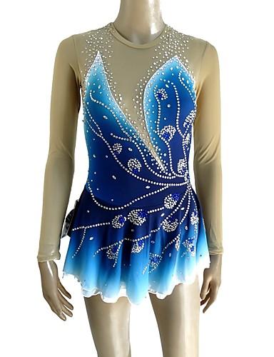 f9ec1cf5b62b Figure Skating Dress Women's Girls' Ice Skating Dress Blue Open Back Halo  Dyeing Spandex Micro-elastic Professional Competition Skating Wear Handmade  Sequin ...