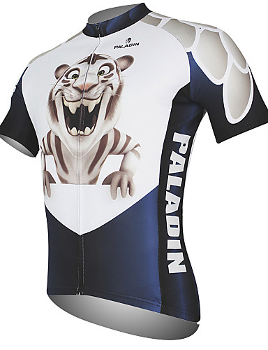 cheap Cycling Clothing-ILPALADINO Men's Short Sleeve Cycling Jersey - Black / White Animal Bike Jersey Top Breathable Quick Dry Ultraviolet Resistant Sports 100% Polyester Mountain Bike MTB Road Bike Cycling Clothing