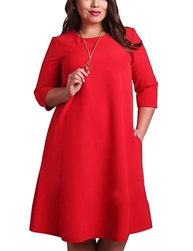 voordelige Grote maten jurken-Dames Grote maten Standaard Recht Jurk - Effen Tot de knie Rood