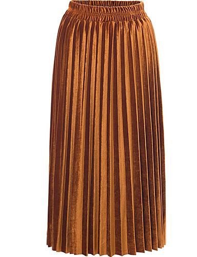 abordables Faldas para Mujer-Mujer Básico Maxi Línea A Faldas Un Color Verde Trébol Gris Azul Real M L XL