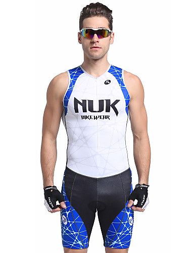 cheap Cycling Clothing-Nuckily Men's Short Sleeve Triathlon Tri Suit - Blue Stripes Bike Breathable Anatomic Design Ultraviolet Resistant Sports Polyester Spandex Stripes Triathlon Clothing Apparel / Stretchy / Advanced