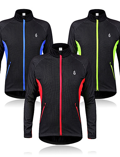 cheap Cycling Clothing-WOLFBIKE Men's Cycling Jacket Bike Jacket Sweatshirt Windbreaker Thermal / Warm Windproof Fleece Lining Sports Fleece Winter Red / Green / Blue Mountain Bike MTB Road Bike Cycling Clothing Apparel