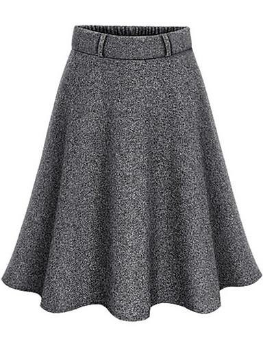 abordables Jupes-Femme Sortie Balançoire Jupes - Couleur Pleine Taille haute Noir Gris Foncé M L XL