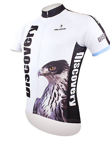 cheap Cycling Clothing-ILPALADINO Men's Short Sleeve Cycling Jersey - Black / White Eagle Bike Jersey Top Breathable Quick Dry Ultraviolet Resistant Sports Polyester 100% Polyester Terylene Mountain Bike MTB Road Bike