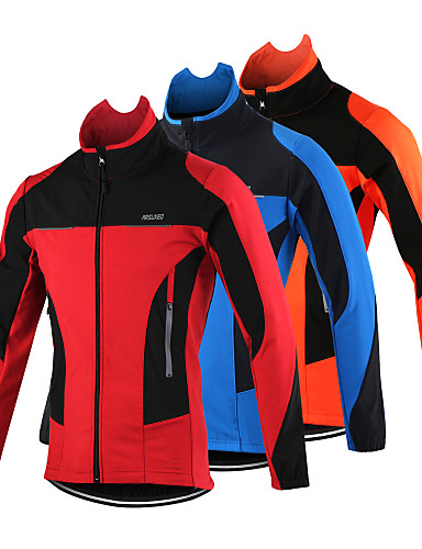 cheap Cycling Jackets-Arsuxeo Men's Cycling Jacket Bike Jacket Top Thermal / Warm Windproof Breathable Sports Polyester Spandex Fleece Winter Orange / Red / Blue Mountain Bike MTB Road Bike Cycling Clothing Apparel