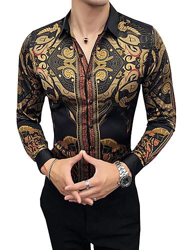 cheap Men's Clothing-Men's Party Daily Work Vintage Slim Shirt - Tribal Classic Collar Brown XXL / Long Sleeve / Fall / Club