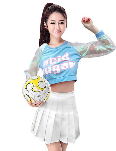 voordelige Shall We®-Cheerleaderpakjes / Danskostuums Outfits Dames Prestatie Spandex Patroon / Print / Ruches / Combinatie Lange mouw Laag Rokken / Top