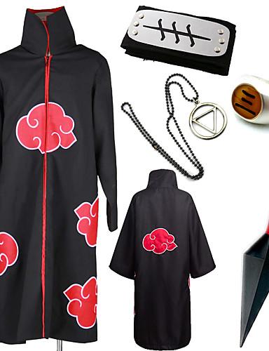 billige Cosplay og kostumer-Inspireret af Naruto Akatsuki / Hidan Anime Cosplay Kostumer Japansk Cosplay Kostumer / Mere Tilbehør Trykt mønster Kappe / Pandebånd / kunai Til Herre