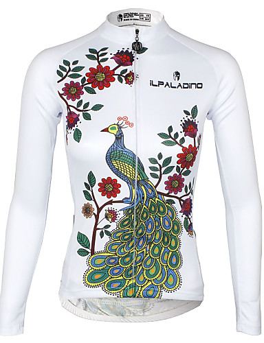 cheap Cycling Clothing-ILPALADINO Women's Long Sleeve Cycling Jersey - White Plus Size Bike Jersey Top Breathable Quick Dry Ultraviolet Resistant Sports 100% Polyester Terylene Mountain Bike MTB Road Bike Cycling Clothing